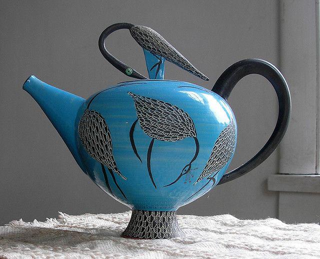 Blue Teapot - with Herons  Elizabeth Maurland, Ceramic, 1998