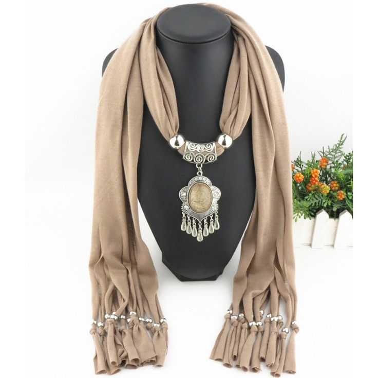 New Charms winter Scarf Necklaces tassel bead Vintage national Pendant scarf  Necklaces Women Scarf Necklaces Jewelry