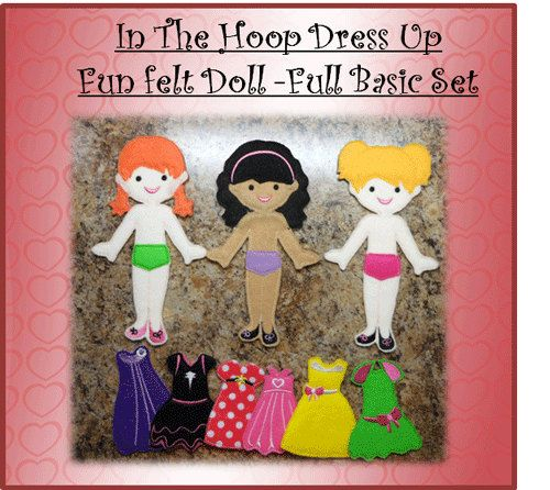 In The Hoop Felt Fun Dress Up Doll Basic Set Embroidery Machine Designs