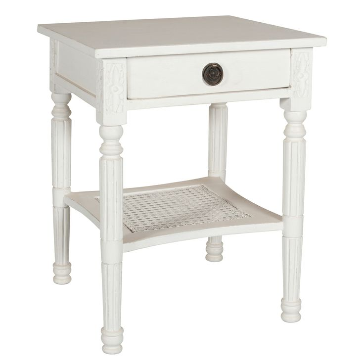Bedside table in distressed white finish