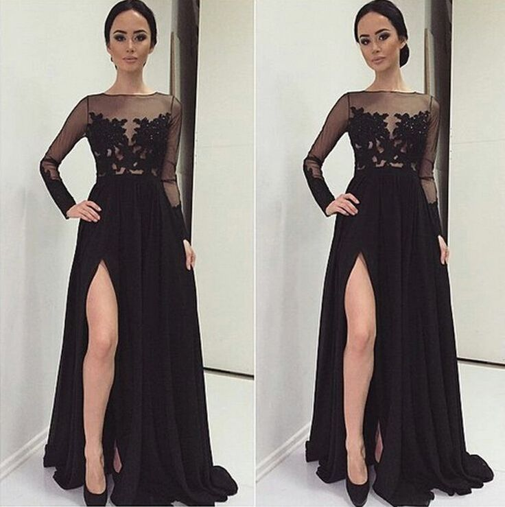 Black Lace Prom Dresses, High Neck Long Sleeves Prom Dress,A Line Front Split Evening Dress Prom ,Sexy Prom Gowns ,Mother of the Bridal Dresses,Graduation Dress