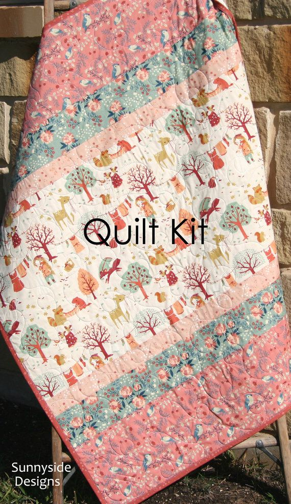 Last Three Woodland Baby Quilt Kit Diy Project Forest