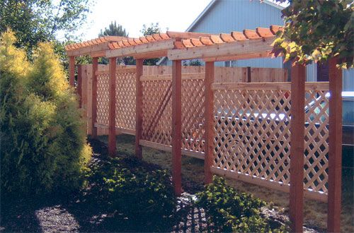 Tall garden privacy fence privacy screen with arbor top for Tall outdoor privacy screen panels
