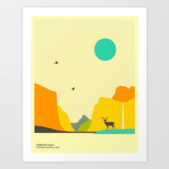 YOSEMITE+NATIONAL+PARK,+Yosemite+Valley+Art+Print+by+Jazzberry+Blue+-+$19.00