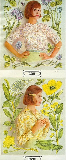 Wildflower Blouses    From Seventeen, March 1963