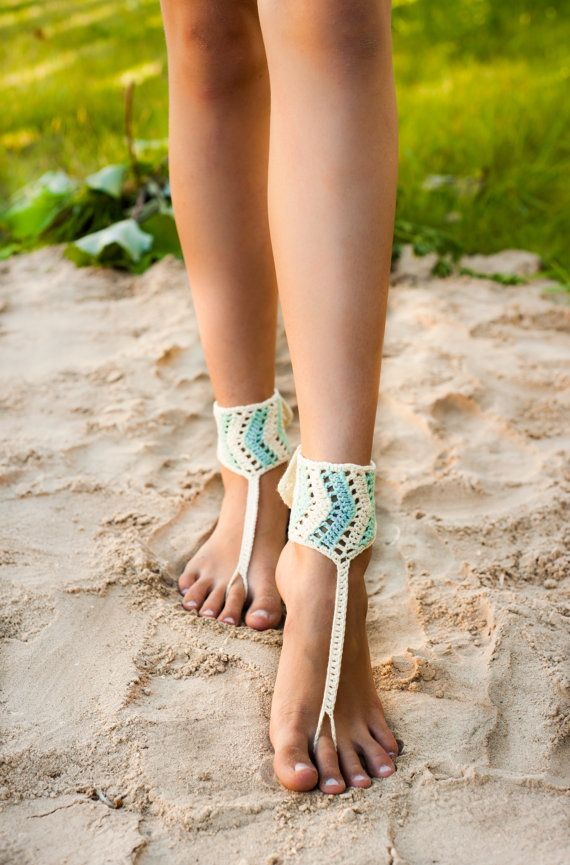 Chevron Crochet Barefoot Sandals, Mint and Ivory, Accessory, Foot jewelry, Hippie shoes, Yoga, Anklet, Steampunk, Buttoned, Adjustable
