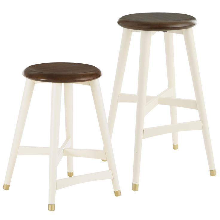 Lovely Antique White Backless Counter Stools