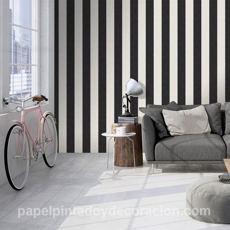 Papel pintado raya ancha 13cm con relieve negro y blanco textura rugosa PDA8329905