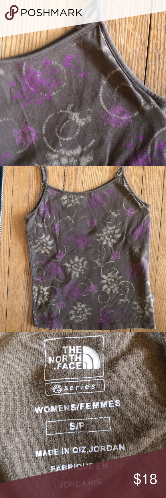 North Face floral cami Brown cami, adjustable straps, shelf bra.  Cute. The North Face Tops Camisoles