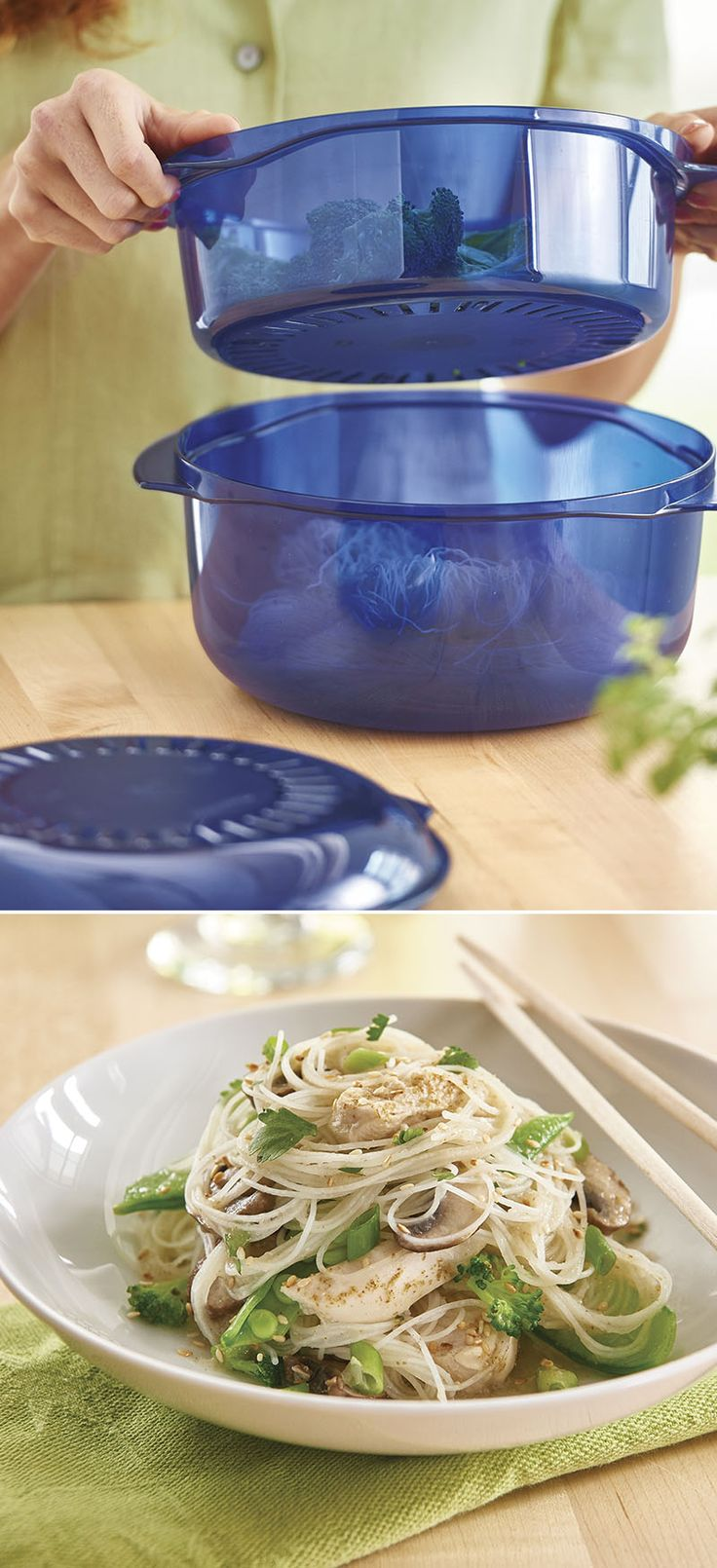 "Prep a meal, stack the pieces, microwave cook and ""beep""—food's ready! Date your Consultant and try Ginger Sesame Chicken with Rice Noodles at your party to see how Tupperware® products stack up."
