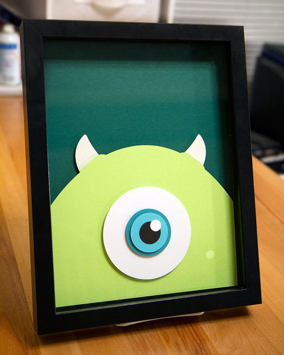 Mike Wazowski Monsters Inc 8x11 handcut 3D paper craft by willpigg