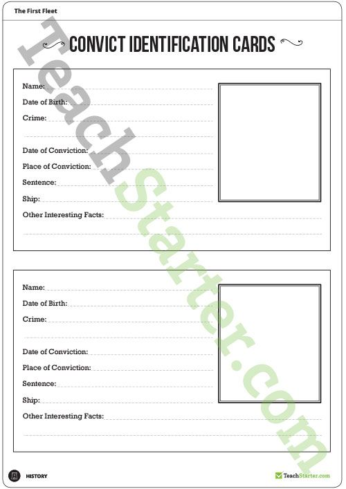 Teaching Resource: A convict identification card template to use in the classroom when learning about the convicts of the First Fleet.