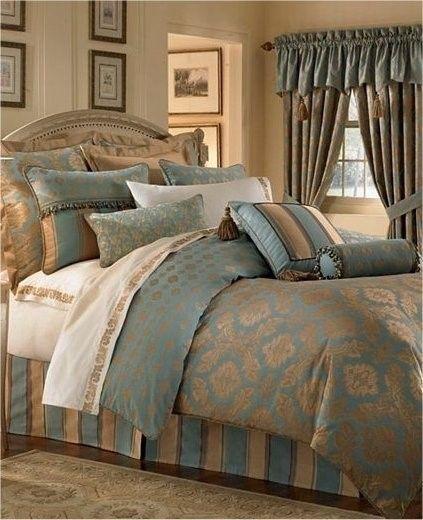 Waterford REARDAN Turquoise Gold 2P King Comforter Sham Set - Comforters & Sets