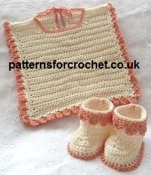 Free baby crochet pattern for Bib and Booties from http://www.patternsforcrochet.co.uk/bib-booties-usa.html #crochet