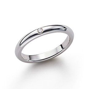 Tiffany Elsa Peretti® band ring with a diamond in sterling silver. Designed for stacking, elegant on its own - $375