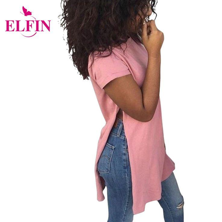 2016 Fashion Side Splits Hem ladies Shirt Short Sleeve Loose Tops Casaul T shirt Women Summer Solid LJ4246R [Affiliate]