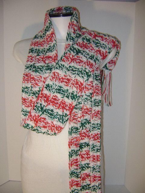 Christmas Scarf Crochet Scarf Handmade Scarf by APoetWithALeftHook