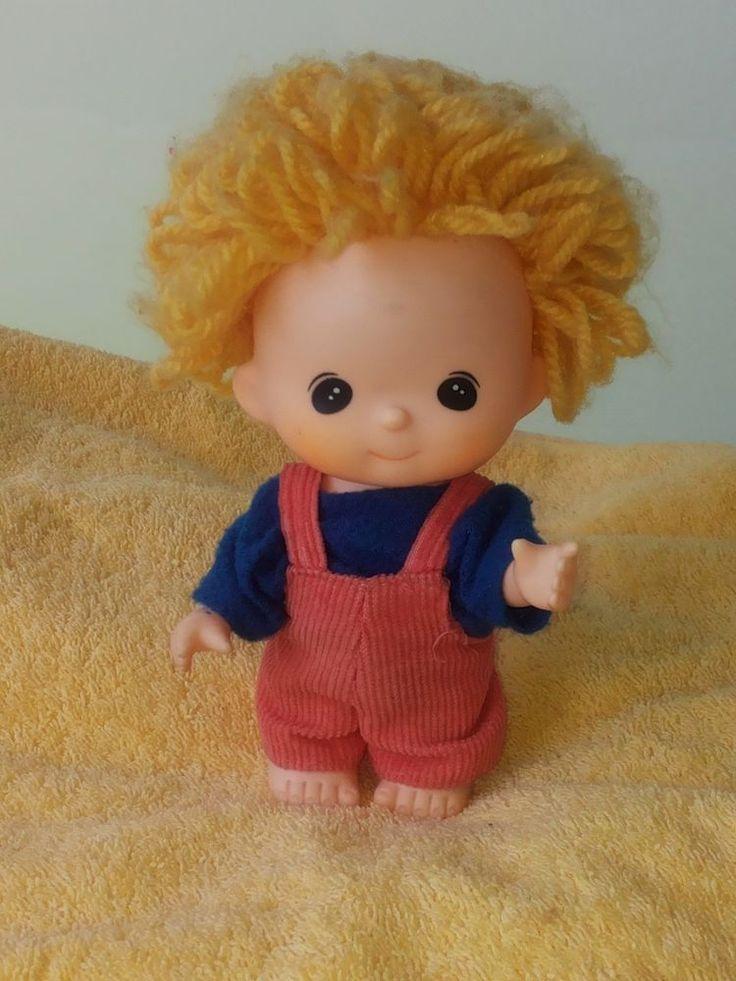 Sekiguchi Puppe Junge ca. 15 cm Wollhaar Japan 70er kein Monchhichi Vintage