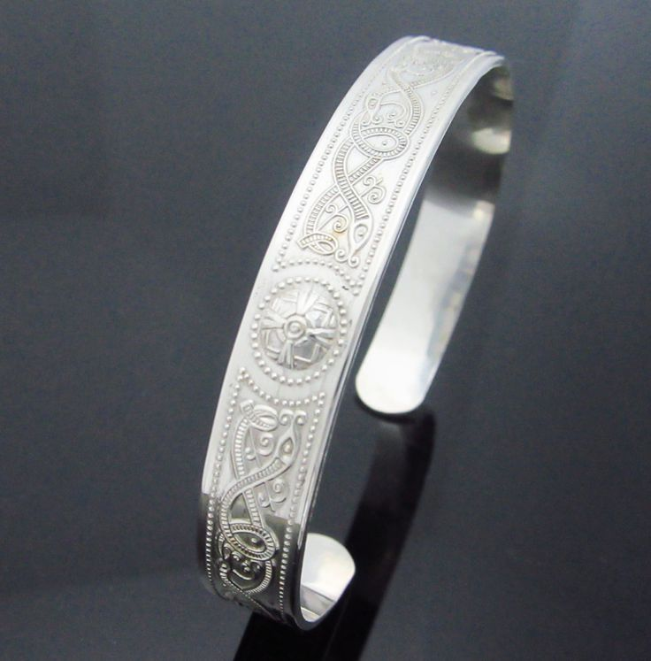 Celtic warrior shield cuff / bangle - Irish Sterling silver bangle - made in lreland by celticicejewellery on Etsy