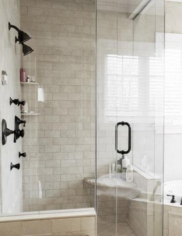 Bathroom Inspiration: gray + white + dark fixtures
