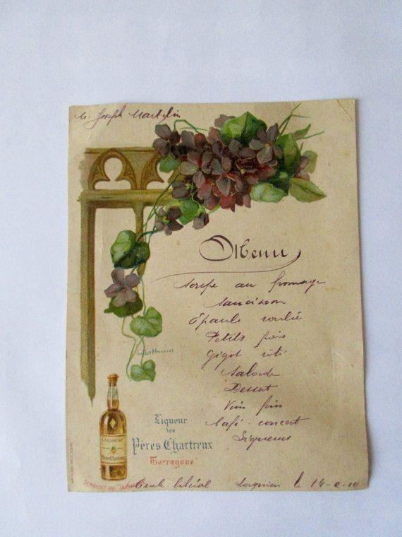 Menu publicitaire liqueur #Chartreuse, repas 1910