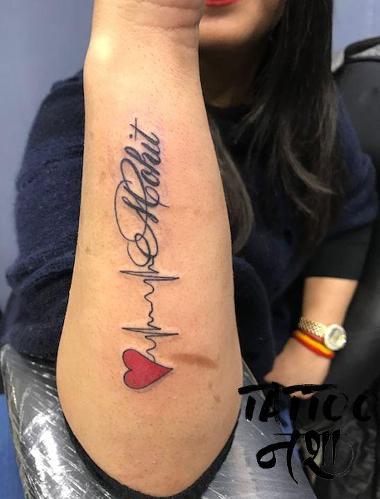 Name Tattoo Name Tattoo With Hearbeat Heartbeat Tattoo By Anurag Chouhan Tattoo Nasha Heartbeat Tattoo Heartbeat Tattoo With Name Tattoos