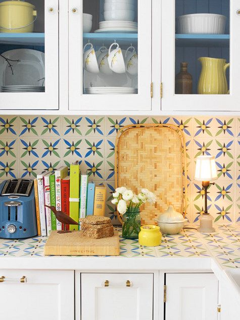 Marrakesh Tile Encaustic Concrete Tile Countertops Backsplash White Painted Cabinets With Blue Interiors And Glass Doors