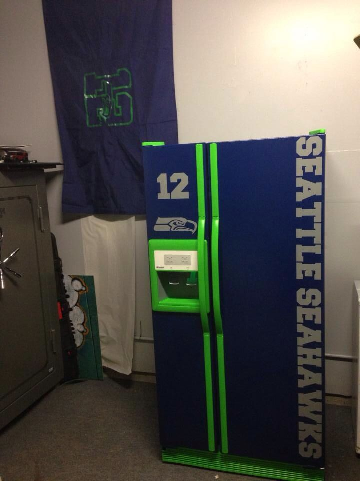 Seahawks refrigerator. Marty would love this when he finally gets a man cave