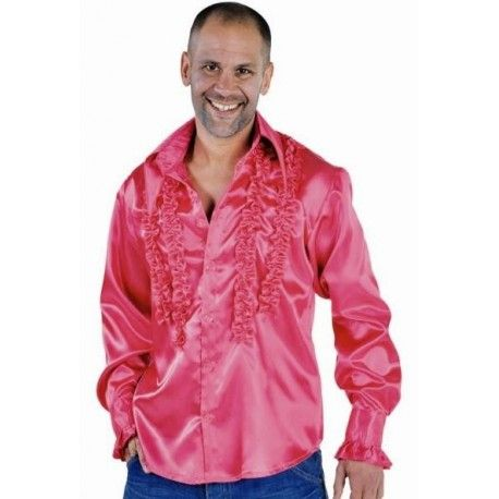 Deguisement Disco Hippie Chemise Pink Rose Deluxe Homme