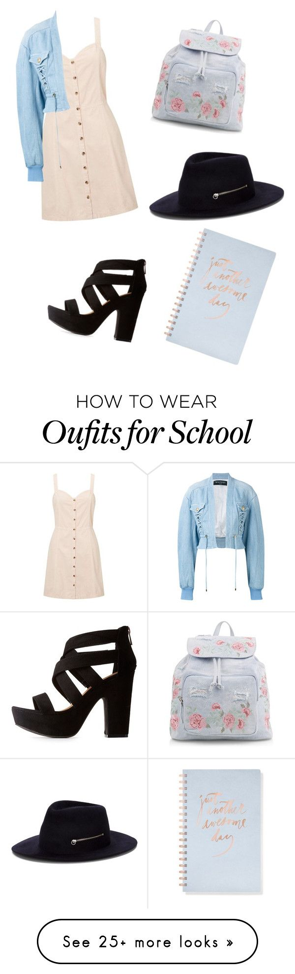"""Back To School.???"" by lavensorrow on Polyvore featuring Miss Selfridge, Balmain, Bamboo, New Look, Larose and Fringe"