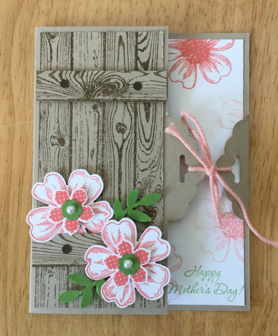 Stampin Up handmade Mother's Day card - scalloped topper garden gate with flowers