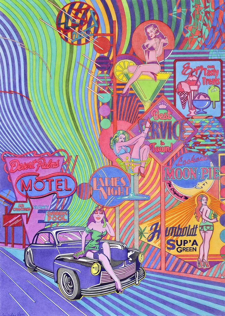 """""""Desert Palm Motel"""", refleja una iconografía de urbanismo electrográfico, anuncios de carretera, moteles, coches y pin-up´s, todo ello constituyendo estereotipos publicitarios."""