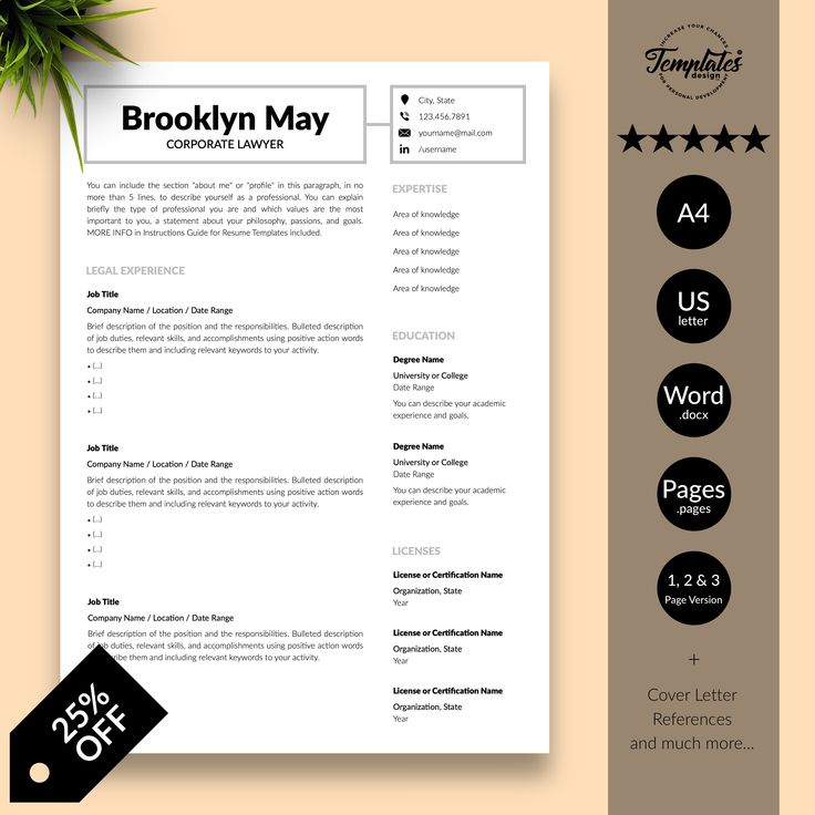 Corporate Lawyer Resume Template for Word & Pages