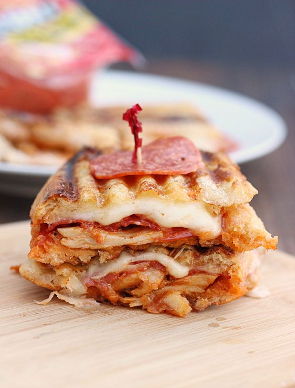Chicken Pepperoni Parmesan Panini. A delicious and easy chicken parmesan panini with the added flavor of pepperoni.