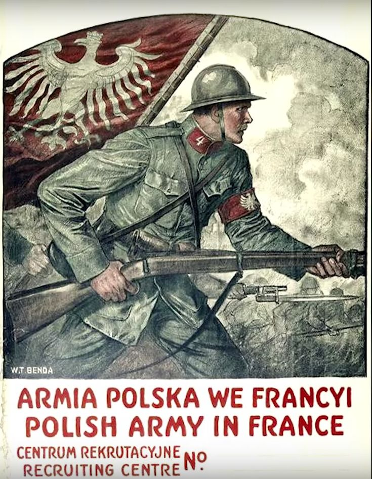 """greatwar-1914: """" June 4, 1917 - French Government Organizes Creation of an Expatriate Polish Army Pictured - A recruiting poster for Haller's Blue Army, directed at American Poles. France had few..."""