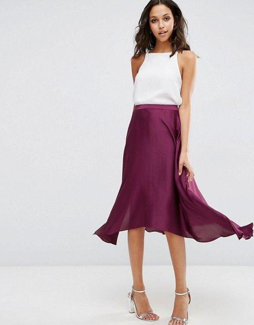 ASOS | ASOS Midi Skirt in Satin with Splices