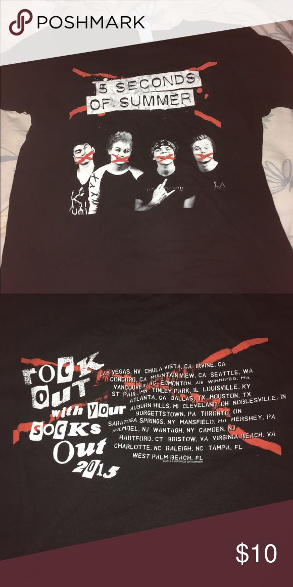 5SOS ROWYSO tour tee I've only worn this a few times and I just have way too many concert shirts!  this is a really cute shirt from the 2015 tour. there's a picture of 5 Seconds of Summer on the front and the tour dates on the back.  🎸I'm always open to reasonable offers  🎸all items will be washed/ironed again before shipment. Tops Tees - Short Sleeve