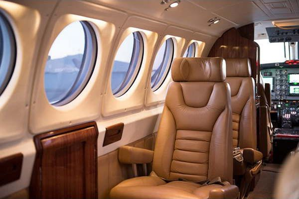 Inside the Corporate King Air - club seating