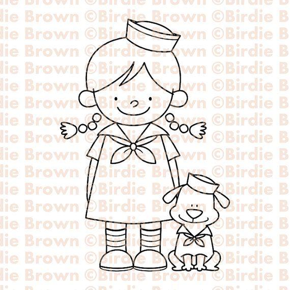 Digital stamp -- Sailor Girl & Puppy