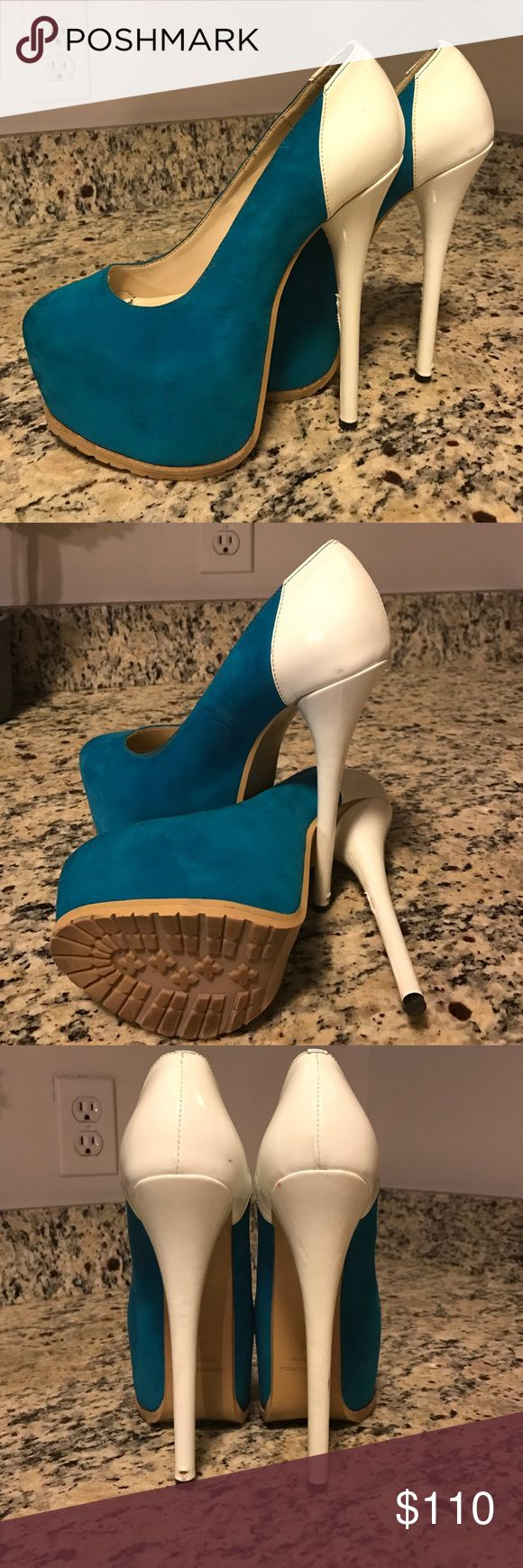 Gianmarco Lorenzi Platform Stiletto Heels Gianmarco Lorenzi Platform Stiletto Heels. Made in Italy. Teal Suede/White Patent Leather *these are not CLoubs-no Gianmarco category*  worn only once-great condition Christian Louboutin Shoes Platforms