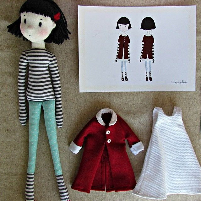 Nina - fabricdoll anacardia + Cecilia Murgel drawings