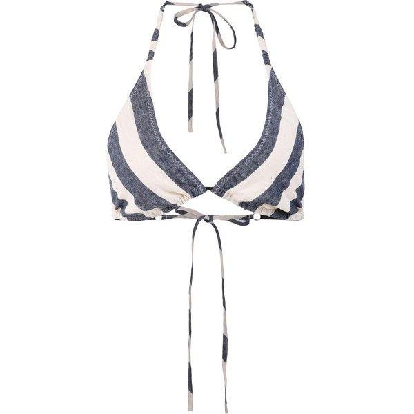 Malia Mills 'Nadege' Striped Triangle Bikini Top ($148) ❤ liked on Polyvore featuring swimwear, bikinis, bikini tops, blue and white bikini, triangle swim wear, stripe bikini, triangle bikinis and striped bikini top