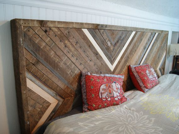 This king-sized headboard (82x46) is made entirely from reclaimed wood that I salvaged from a number of old fir studs. They came from a 105 year