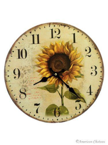 "13"" Sunflower Hanging Wall Clock | Clocks"
