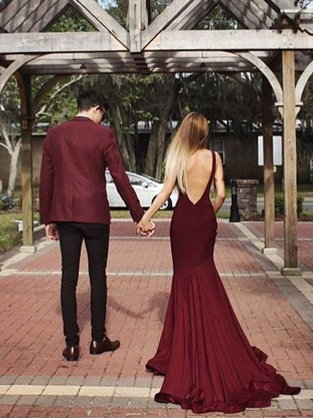 prom dresses, burgundy evening gowns with train, cheap backless prom party dresses with court train.