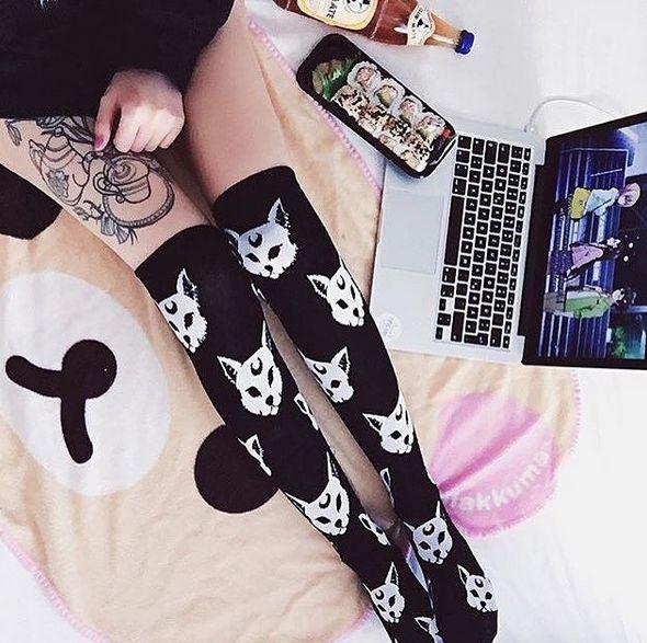 RESTOCKED - Purrfect Socks by Killstar. Pic by @neomatahime on Instagram ATTITUDECLOTHING.CO.UK | We ship worldwide
