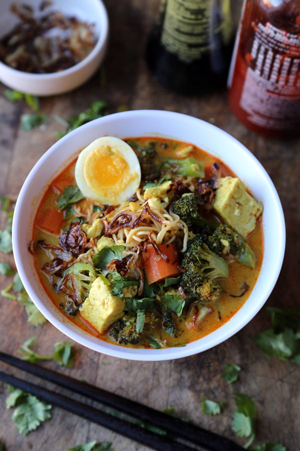 Vegetarian Thai curry noodle soup (with tofu and broccoli).