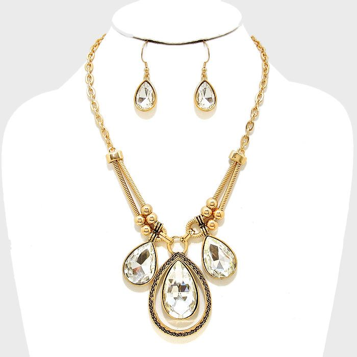Triple Crystal Teardrop Necklace & Earring Set €36