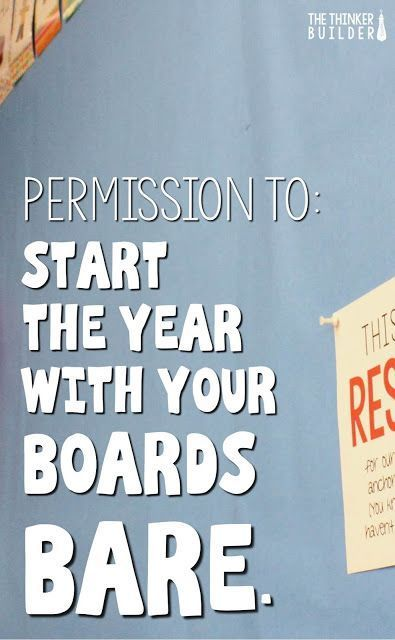 A clever idea that shows why it's okay to start the year with bare bulletin boards! (The Thinker Builder)