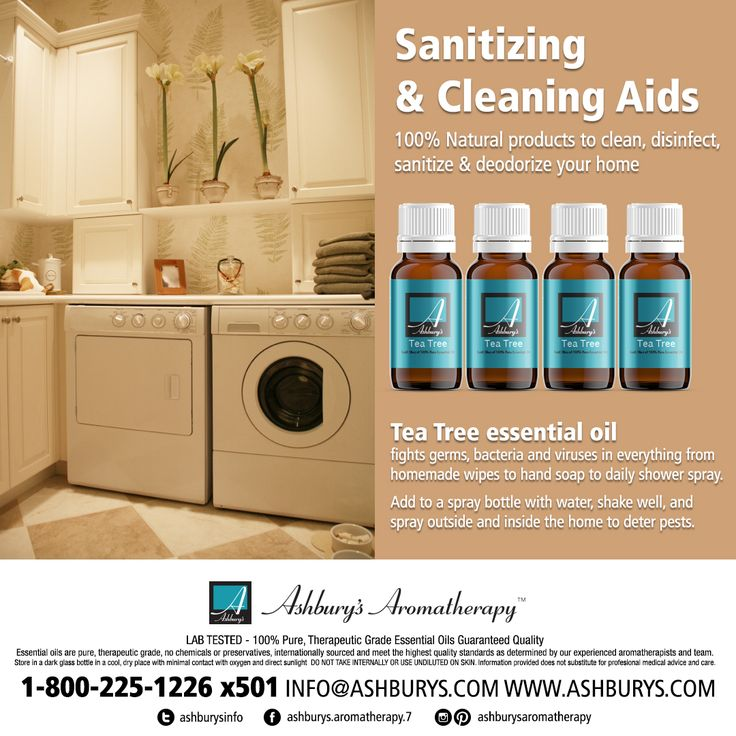 Sanitizing & Cleaning Aids 100% Natural products to clean, disinfect, sanitize & deodorize your home Tea Tree essential oil fights germs, bacteria and viruses in everything from homemade wipes to hand soap to daily shower spray.  Add to a spray bottle with water, shake well, and spray outside and inside the home to deter pests. #ashburysaromatherapy